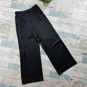 St. John Black Liquid Satin High Rise Pants Size 2